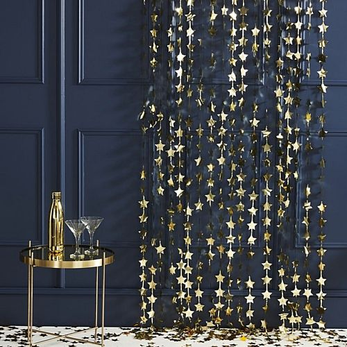 Gold Star Shaped Fringe Curtain Backdrop - 2m