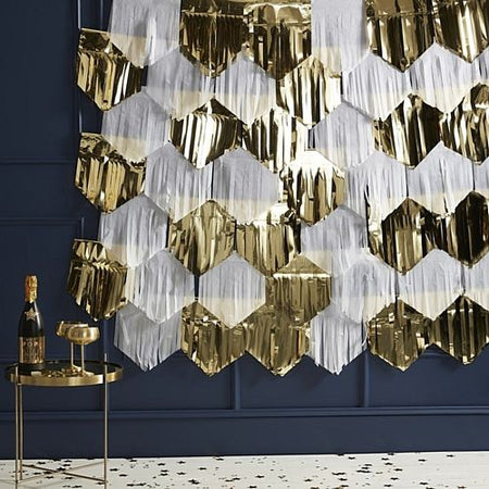Gold and White Tassel Backdrop - 7 x 2m Length Strings