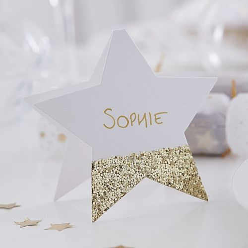 Gold Glitter Star Placecards - Pack of 6