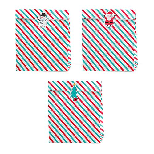 Merry Christmas Striped Paper Treat Bags - Pack of 3