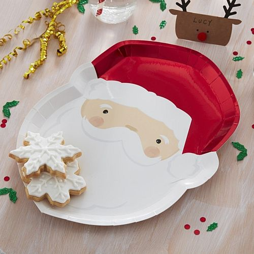 Santa Face Plates - 30cm - Pack of 8
