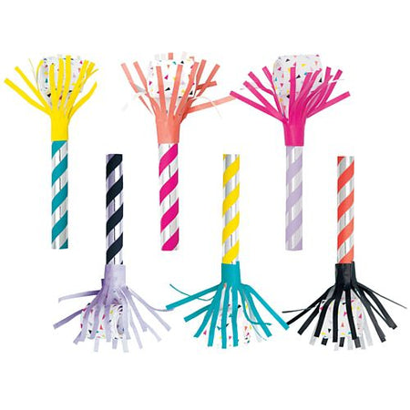 Bright Coloured Fringed Paper Blowouts - Pack of 6