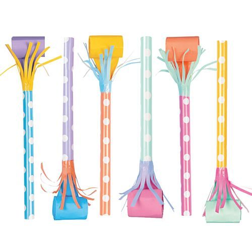 "Long Stem Pastel Colour Paper Blowouts - 6"" - Pack of 6"