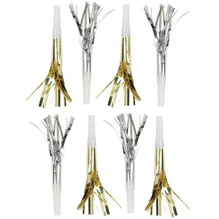 Silver and Gold Fringe Squawker Blowouts - Pack of 8