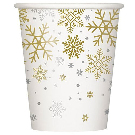 Christmas Snowflakes Paper Cups - 250ml - Pack of 8