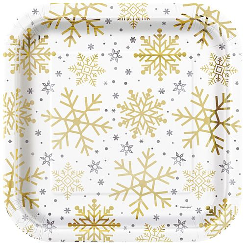 Christmas Snowflakes Paper Plates - 23cm - Pack of 8