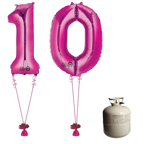 Pink Foil Number '10' Balloon & Helium Canister Decoration Party Pack