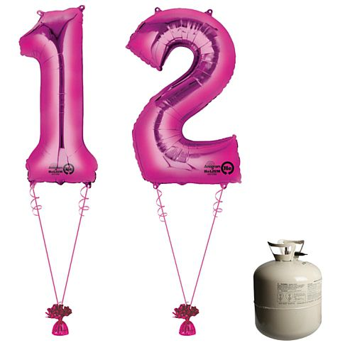 Pink Foil Number '12' Balloon & Helium Canister Decoration Party Pack