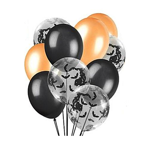Black & Orange Halloween Confetti Bats Balloon Mix