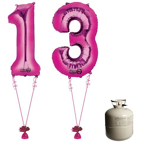 Pink Foil Number '13' Balloon & Helium Canister Decoration Party Pack