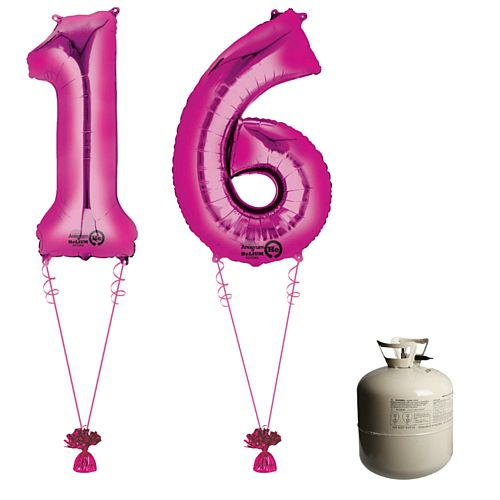 Pink Foil Number '16' Balloon & Helium Canister Decoration Party Pack