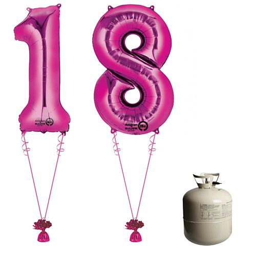 Pink Foil Number '18' Balloon & Helium Canister Decoration Party Pack