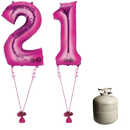 Pink Foil Number '21' Balloon & Helium Canister Decoration Party Pack