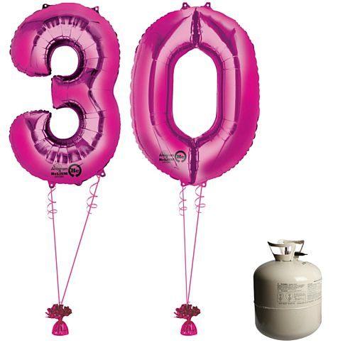 Pink Foil Number '30' Balloon & Helium Canister Decoration Party Pack