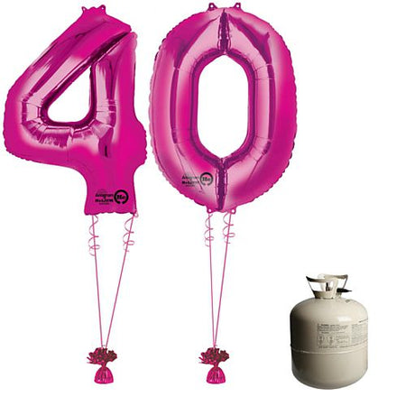 Pink Foil Number '40' Balloon & Helium Canister Decoration Party Pack