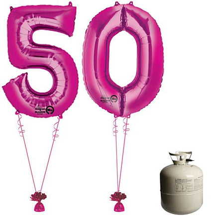 Pink Foil Number '50' Balloon & Helium Canister Decoration Party Pack