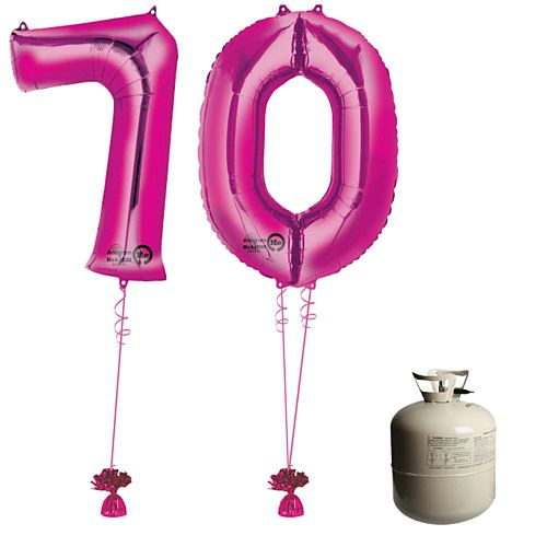 Pink Foil Number '70' Balloon & Helium Canister Decoration Party Pack