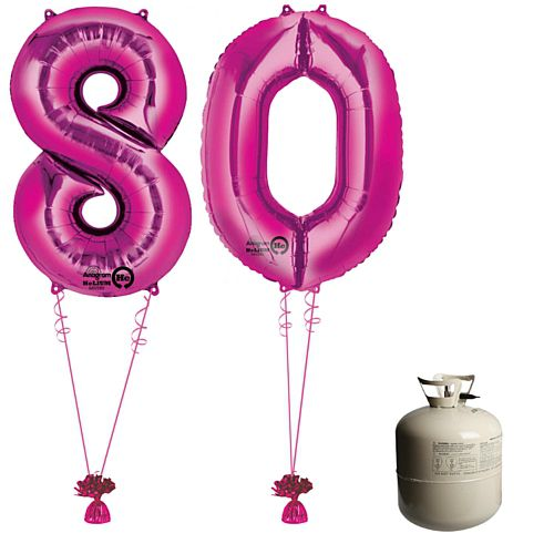 Pink Foil Number '80' Balloon & Helium Canister Decoration Party Pack