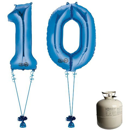 Blue Foil Number '10' Balloon & Helium Canister Decoration Party Pack