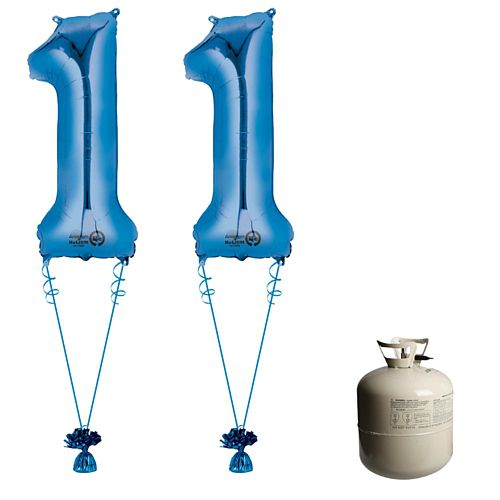 Blue Foil Number '11' Balloon & Helium Canister Decoration Party Pack