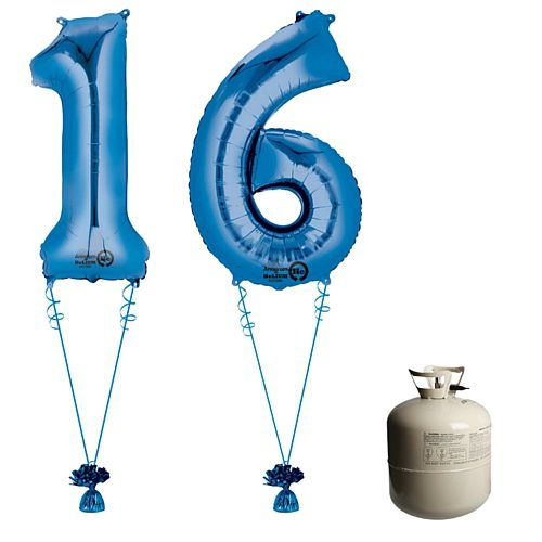 Blue Foil Number '16' Balloon & Helium Canister Decoration Party Pack