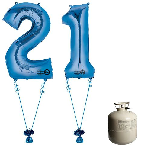Blue Foil Number '21' Balloon & Helium Canister Decoration Party Pack