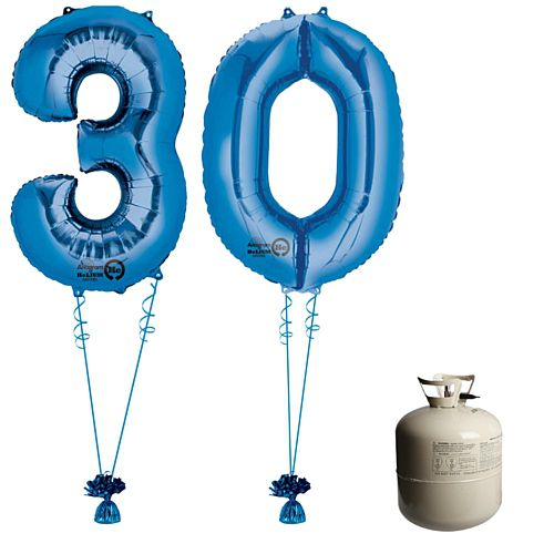 Blue Foil Number '30' Balloon & Helium Canister Decoration Party Pack