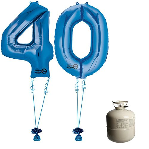 Blue Foil Number '40' Balloon & Helium Canister Decoration Party Pack