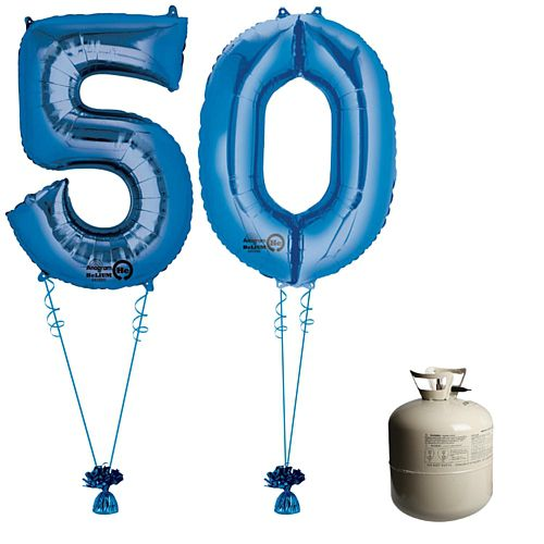 Blue Foil Number '50' Balloon & Helium Canister Decoration Party Pack