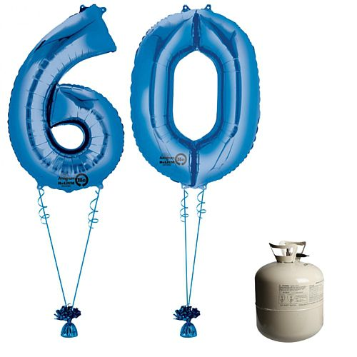 Blue Foil Number '60' Balloon & Helium Canister Decoration Party Pack