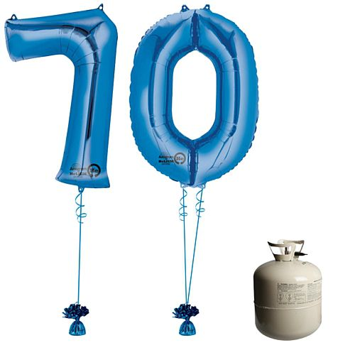 Blue Foil Number '70' Balloon & Helium Canister Decoration Party Pack