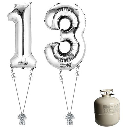 Silver Foil Number '13' Balloon & Helium Canister Decoration Party Pack