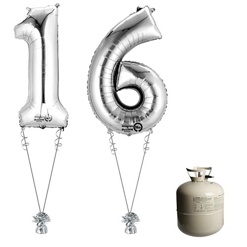 Silver Foil Number '16' Balloon & Helium Canister Decoration Party Pack