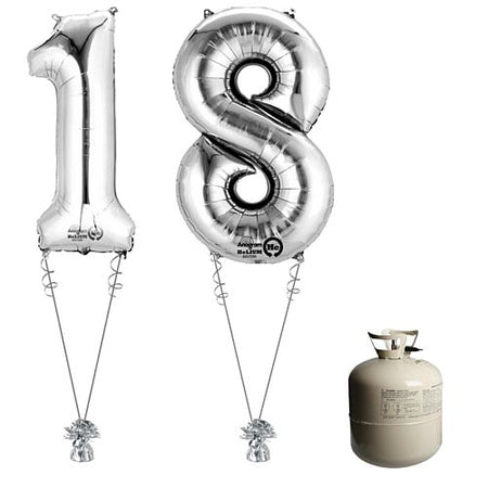 Silver Foil Number '18' Balloon & Helium Canister Decoration Party Pack