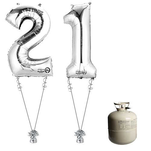 Silver Foil Number '21' Balloon & Helium Canister Decoration Party Pack
