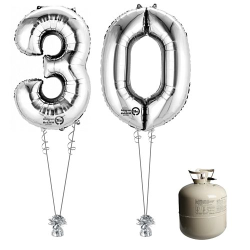 Silver Foil Number '30' Balloon & Helium Canister Decoration Party Pack