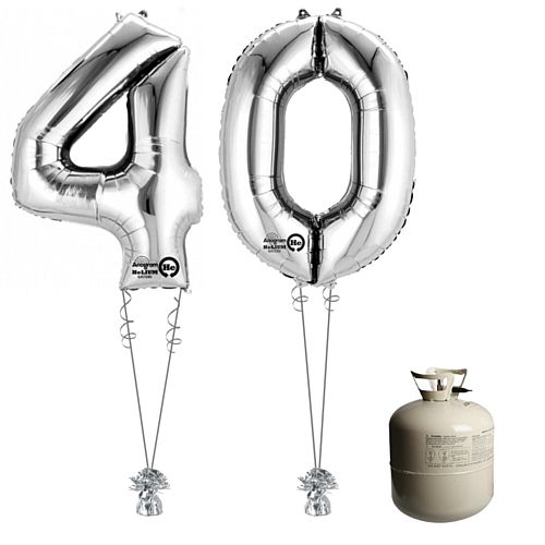 Silver Foil Number '40' Balloon & Helium Canister Decoration Party Pack