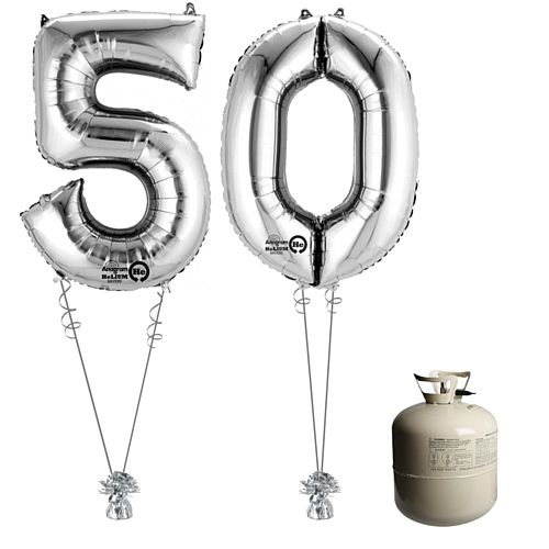 Silver Foil Number '50' Balloon & Helium Canister Decoration Party Pack