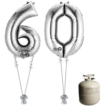 Silver Foil Number '60' Balloon & Helium Canister Decoration Party Pack