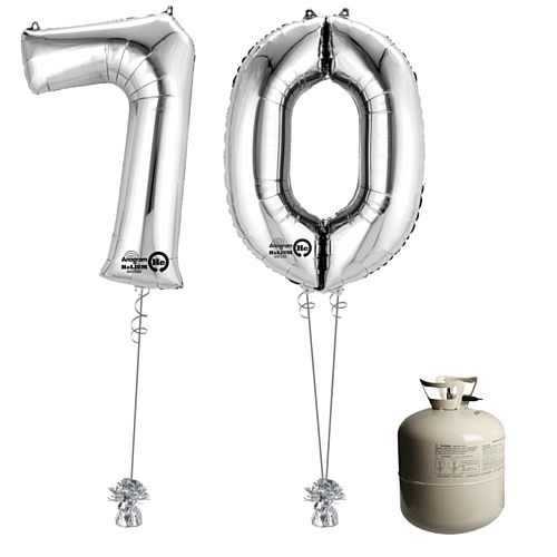 Silver Foil Number '70' Balloon & Helium Canister Decoration Party Pack