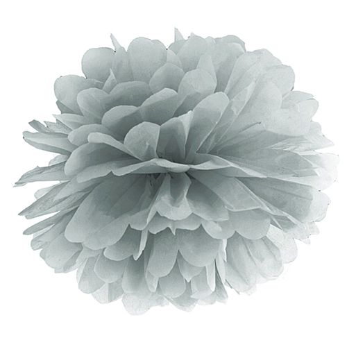 Silver Pom Pom Tissue Decoration - 40cm
