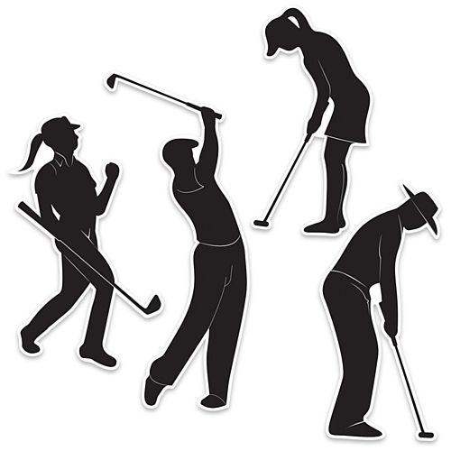 Golf Player Silhouettes - 30.5cm - Pack of 4
