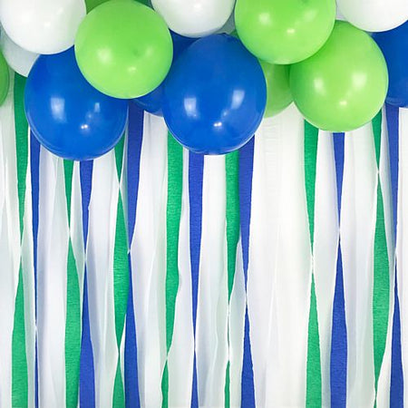 Blue, Green and White Crepe Streamer Decoration Pack