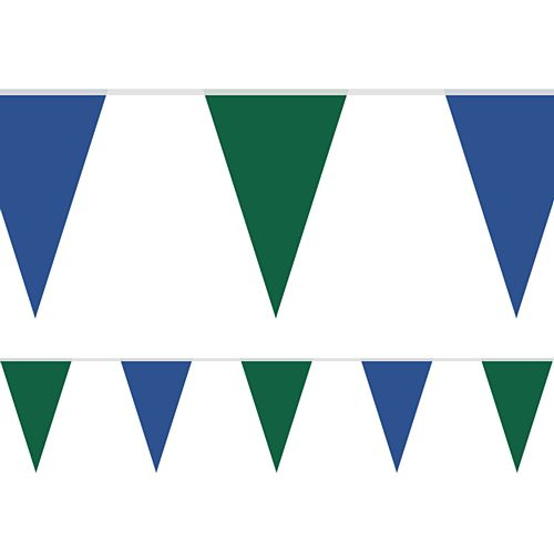 Rugby Blue and Green Fabric Pennant Bunting - 24 Flags - 8m