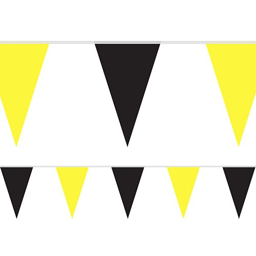 Black and Yellow Fabric Pennant Bunting - 24 Flags - 8m