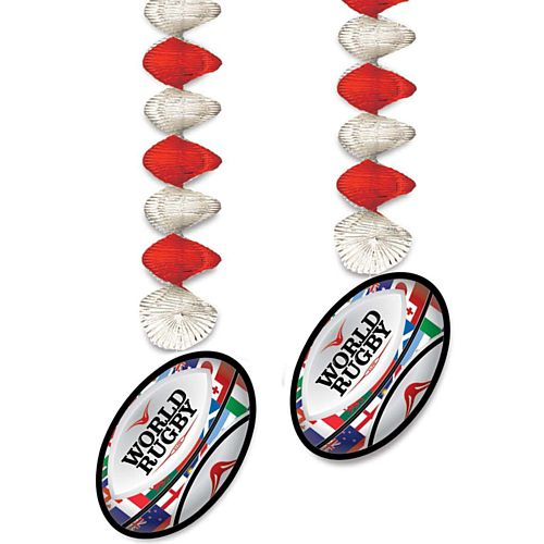 World Rugby Ball Dangler Decorations - 76cm - Pack of 2