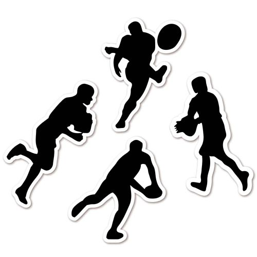 Rugby Player Silhouettes Card Wall Decorations - 32cm - Pack of 4