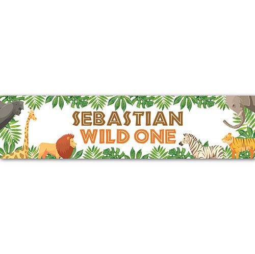 Wild One Jungle Animals Personalised Banner Decoration - 1.2m