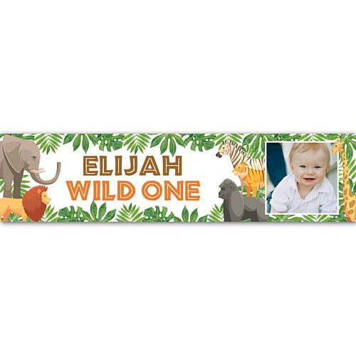 Wild One Jungle Animals Personalised Photo Banner Decoration - 1.2m