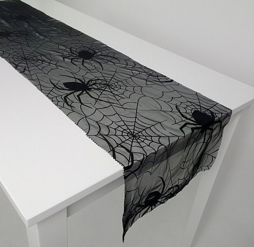 Halloween Spider Web Lace Fabric Table Runner Black - 1.5m